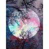Неоновая луна Раскраска картина по номерам на холсте