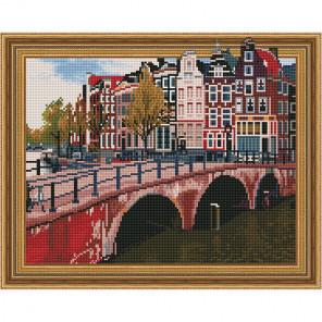 Канал Амстердама Картина 3D мозаика с нанесенной рамкой на подрамнике Molly KM0187
