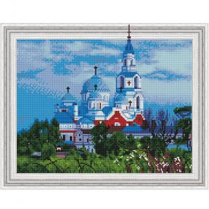 Валаамский монастырь Картина 3D мозаика с нанесенной рамкой на подрамнике Molly KM0188