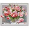 Розы в стеклянной вазочке Картина 3D мозаика с нанесенной рамкой на подрамнике Molly