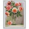 Розы в вазе Картина 3D мозаика с нанесенной рамкой на подрамнике Molly