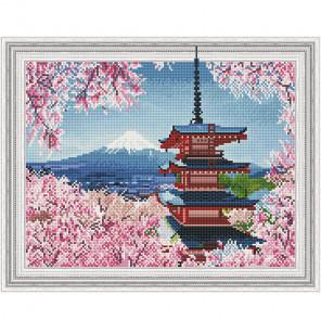 Японская пагода Картина 3D мозаика с нанесенной рамкой на подрамнике Molly KM0191