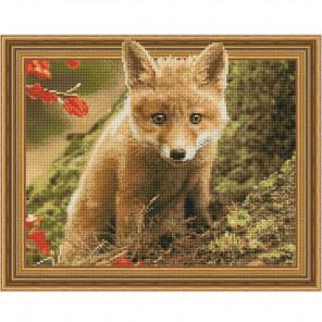 Лисенок в осеннем лесу Картина 3D мозаика с нанесенной рамкой на подрамнике Molly KM0192