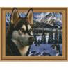 В заснеженных горах Картина 3D мозаика с нанесенной рамкой на подрамнике Molly