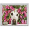 Лабрадор в тюльпанах Картина 3D мозаика с нанесенной рамкой на подрамнике Molly