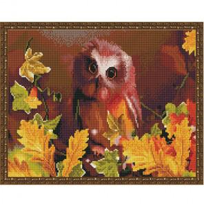 Сова осенью Картина 3D мозаика с нанесенной рамкой на подрамнике Molly KM0201