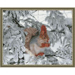 Белочка зимой Картина мозаикой с нанесенной рамкой на подрамнике Molly KM0205