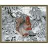 Белочка зимой Картина мозаикой с нанесенной рамкой на подрамнике Molly