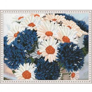 Ромашки с васильками Картина мозаикой с нанесенной рамкой на подрамнике Molly KM0206