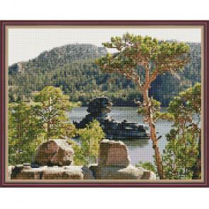 Бурабай-жемчужина Казахстана Картина мозаикой с нанесенной рамкой на подрамнике Molly KM0207
