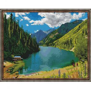 Кольсайские озера Картина мозаикой с нанесенной рамкой на подрамнике Molly KM0208