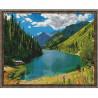 Кольсайские озера Картина мозаикой с нанесенной рамкой на подрамнике Molly