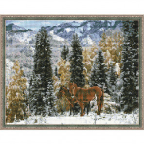 Казахстан. Зимой в горах Картина мозаикой с нанесенной рамкой на подрамнике Molly KM0211