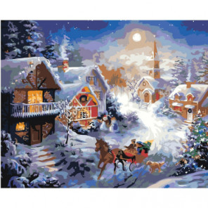 Рождественский вечер 80х100 Раскраска картина по номерам на холсте