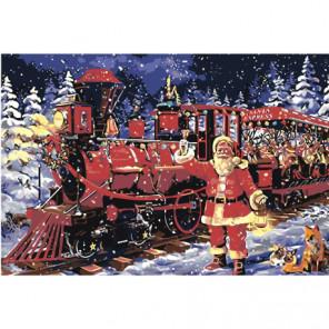 Санта-Клаус и новогодний экспресс Раскраска картина по номерам на холсте