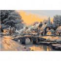 Зимний пейзаж с мостом 80х120 Раскраска картина по номерам на холсте