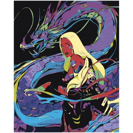 Девушка и дракон, абстракция Раскраска картина по номерам ...