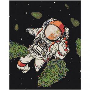 Космонавт в открытом космосе Раскраска картина по номерам на холсте