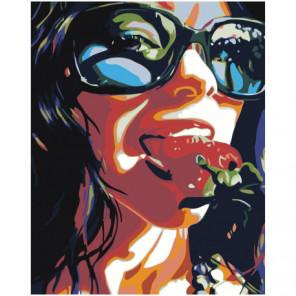 Девушка с клубникой 80х100 Раскраска картина по номерам на холсте