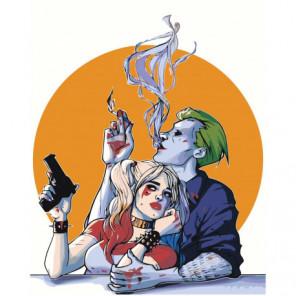 Харли Квинн и Джокер 80х100 Раскраска картина по номерам на холсте