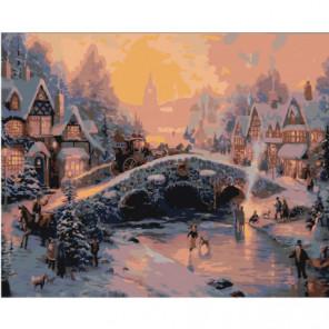 Зимний городской пейзаж с мостом Раскраска картина по номерам на холсте