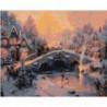 Зимний городской пейзаж с мостом 80х100 Раскраска картина по номерам на холсте