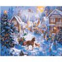 Новогодняя деревня Раскраска картина по номерам на холсте