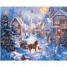 Новогодняя деревня 100х125 Раскраска картина по номерам на холсте