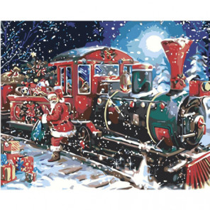 Новогодний поезд и Санта-Клаус 80х100 Раскраска картина по номерам на холсте