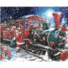 Новогодний поезд и Санта-Клаус 100х125 Раскраска картина по номерам на холсте