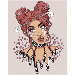 Девушка со слезами и сердечками 80х100 Раскраска картина по номерам на холсте