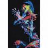 Радужная неоновая девушка 100х150 Раскраска картина по номерам на холсте