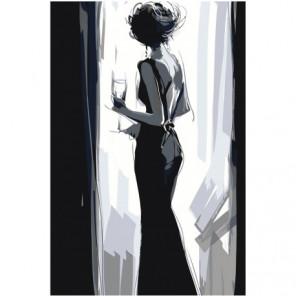 Дама с бокалом Раскраска картина по номерам на холсте