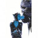 Поцелуй бэтмена и женщины-кошки 80х120 Раскраска картина по номерам на холсте
