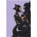 Связанные бэтмен и женщина-кошка Раскраска картина по номерам на холсте