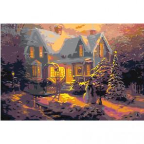 Рождественские домики 100х150 Раскраска картина по номерам на холсте
