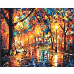Осенний парк 100х125 Раскраска картина по номерам на холсте