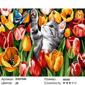 Сложность и количество цветов Котенок в тюльпанах Раскраска картина по номерам на холсте GX27243