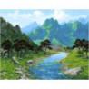 Каменистая река в ущелье Раскраска картина по номерам на холсте