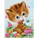 Котенок с ромашкой Раскраска картина по номерам на холсте
