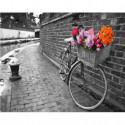 Велосипед с корзиной цветов Раскраска картина по номерам на холсте