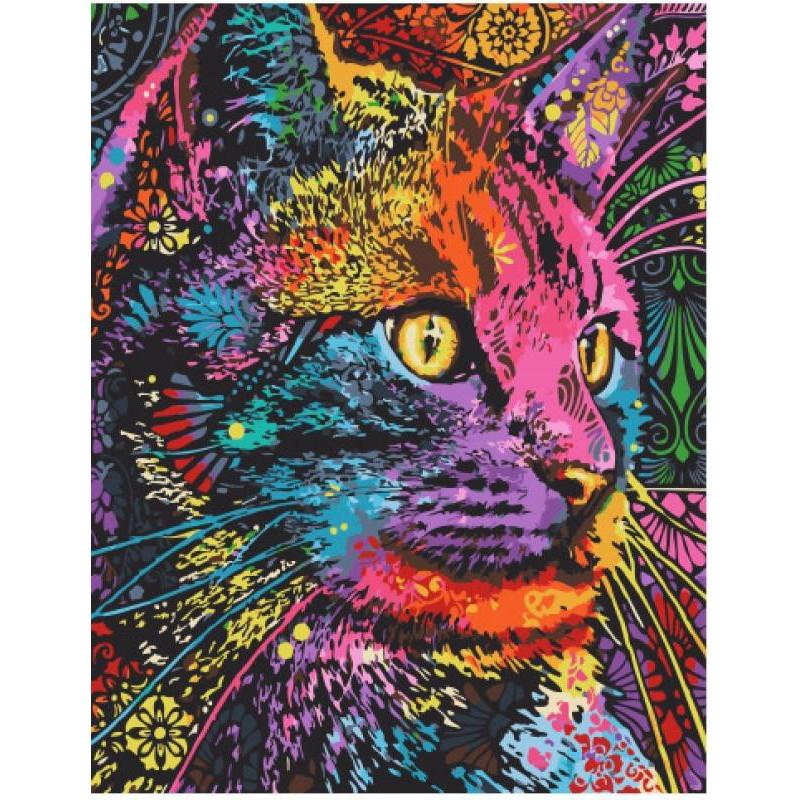 Разноцветный кот Раскраска картина по номерам на холсте ...