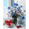 Клубника и полевой букет Раскраска картина по номерам на холсте