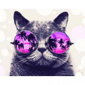 Кот в круглых очках Раскраска картина по номерам на холсте
