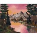 Розовый закат в горах Раскраска картина по номерам на холсте