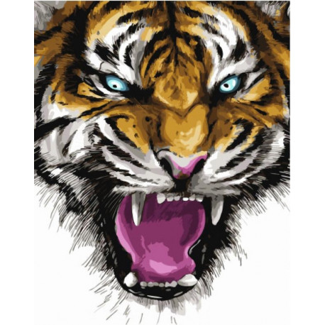 Ярость тигра Раскраска картина по номерам на холсте ...