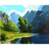Скалистые берега реки Раскраска картина по номерам на холсте