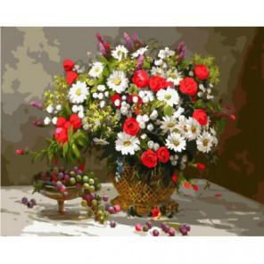 Алые розы, ромашки и гроздь винограда Раскраска картина по номерам на холсте