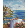 Уютный столик на набережной Раскраска картина по номерам на холсте