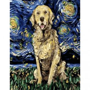 Цветной пес Раскраска картина по номерам на холсте